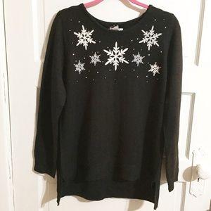 Croft & Barrow NWT Black Snowflake Sweater - XL